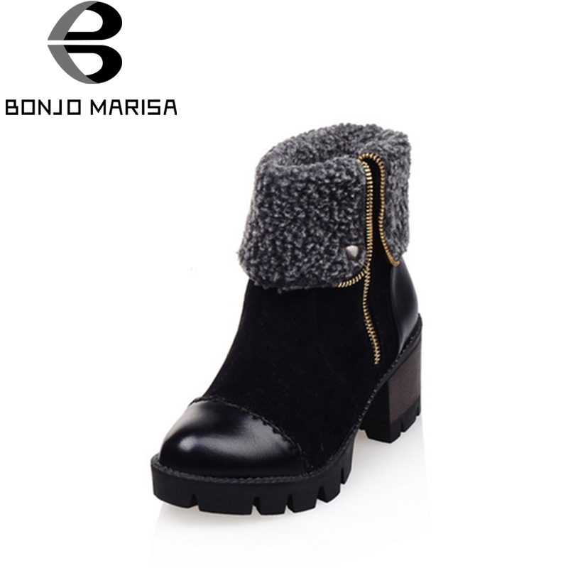 BONJOMARISA 2018 Winter Fashion New Arrival Warm Fur Ankle Snow Boots Platform High Square Heel Women Shoes Large Size 33-43 taima brand new arrival winter fashion women boots warm fur ankle snow boots black ladies style winter women shoes page 2