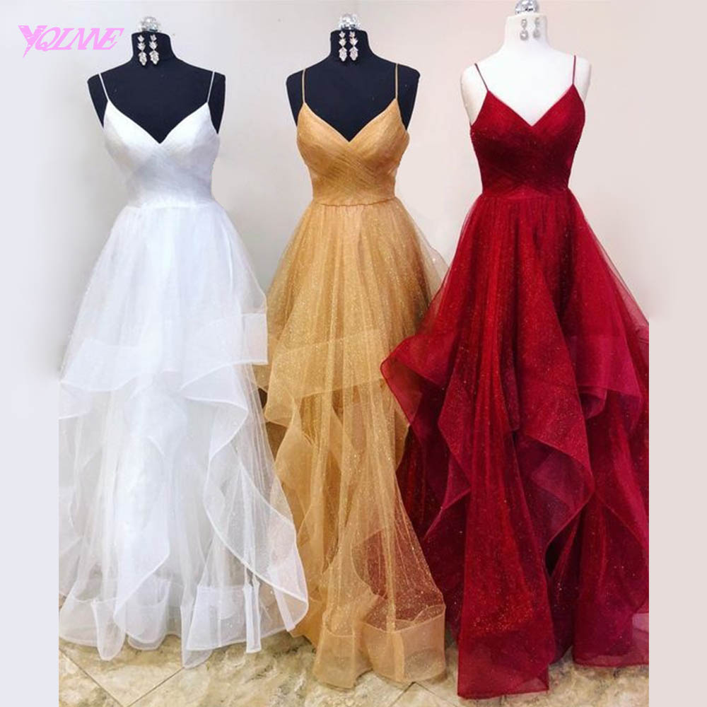 YQLNNE 2018 Golden Prom Dresses Long Spaghetti Tulle Pleats Party Dress Vestido De Festa