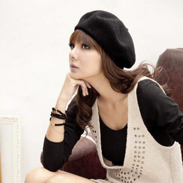 Fashion Beret Hats Solid Color Warm Wool Winter Thin Wool Women Girl Beret  French Artist Beanie 903d6d625a3