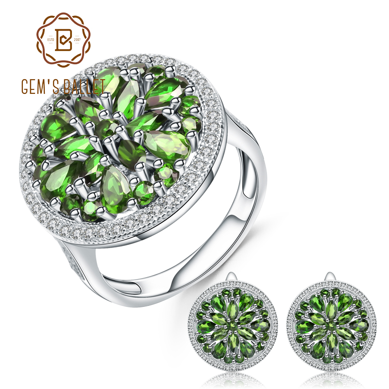 GEM'S BALLET 10.52Ct Natural Chrome Diopside Earrings Ring Set 925 Sterling Silver Gemstone Vintage Jewelry Set  For Women