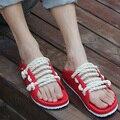 Обувь сандалии женщин туфли летние 2017 новая мода любовника конопли веревки флип-флоп сандалии