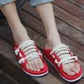 Zapatos de las sandalias de las mujeres zapatos de verano 2017 nuevo amante de la moda cuerda de cáñamo sandalias flip flop