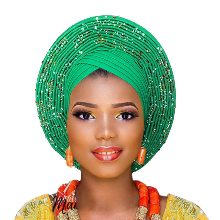 2018 New Arrival aso oke gele with beads gele asooke headtie for african