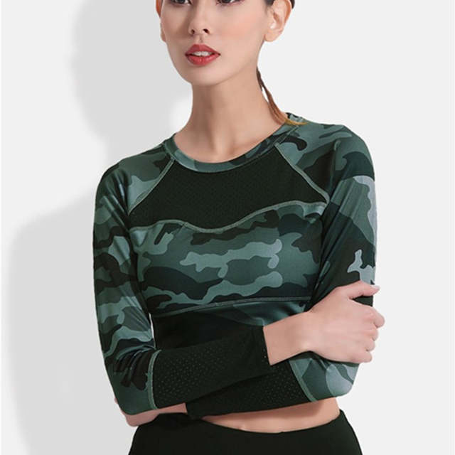 764f6910d6667 2018 Women Yoga T shirt Long Sleeve T Shirts Patchwork Gym Camouflage Crop  Tops Mesh Fitness