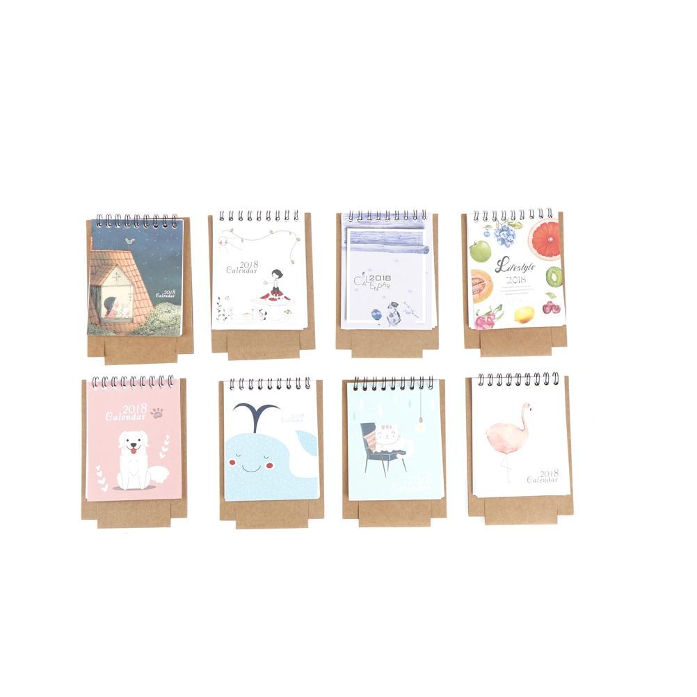 Peerless 1 Set 2017.9~2018.12 Hot Cute Little Fresh Cartoon Animals Series Flamingo Mini Table Calendars Desk Calendar Office Bright And Translucent In Appearance Calendar