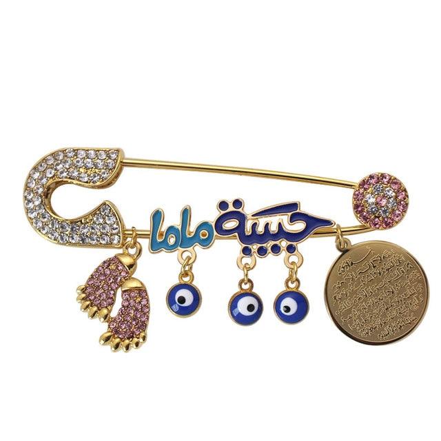 muslim AYATUL KURSI mothers baby Turkish evil eye Stainless Steel brooch Baby Pin