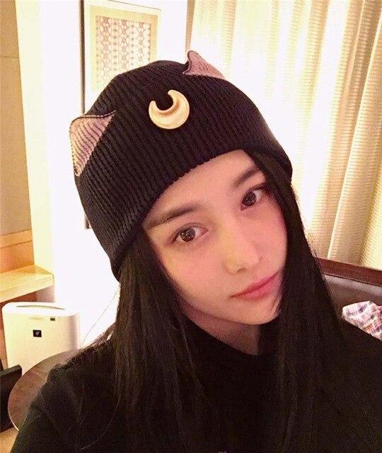 2017 nuevo patrón Luna hermosa niña soldado que hacen punto sombrero ...