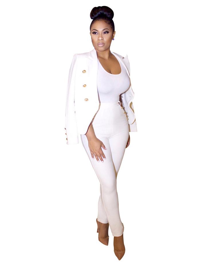 Black White Pants Suit Women Business Formal 2 Piece Pant Set Female (5)