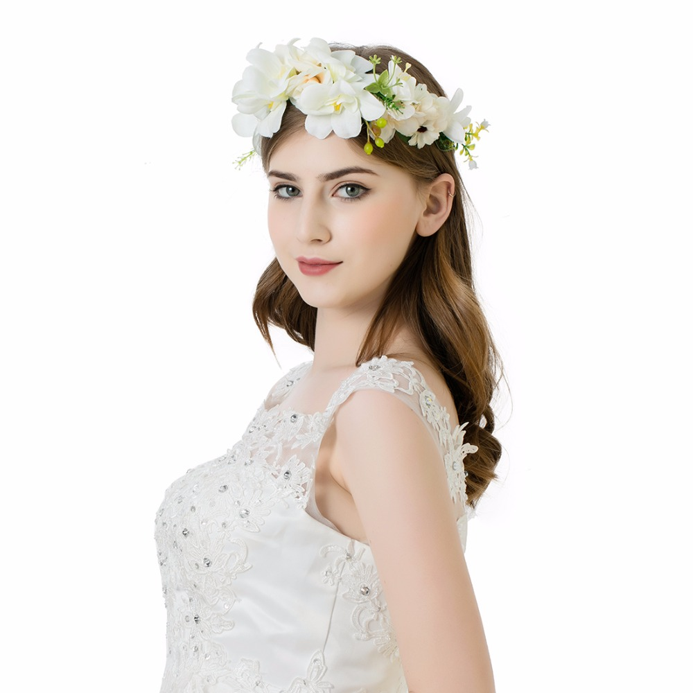 Awaytr Handmade White Flower Headband Wedding New Bride Sen