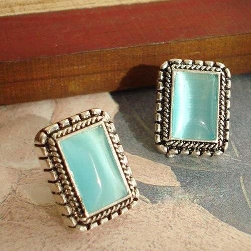 Fashion Hot Sale New Style OL Temperament Blue Stone Quadrate Stud Earring E66