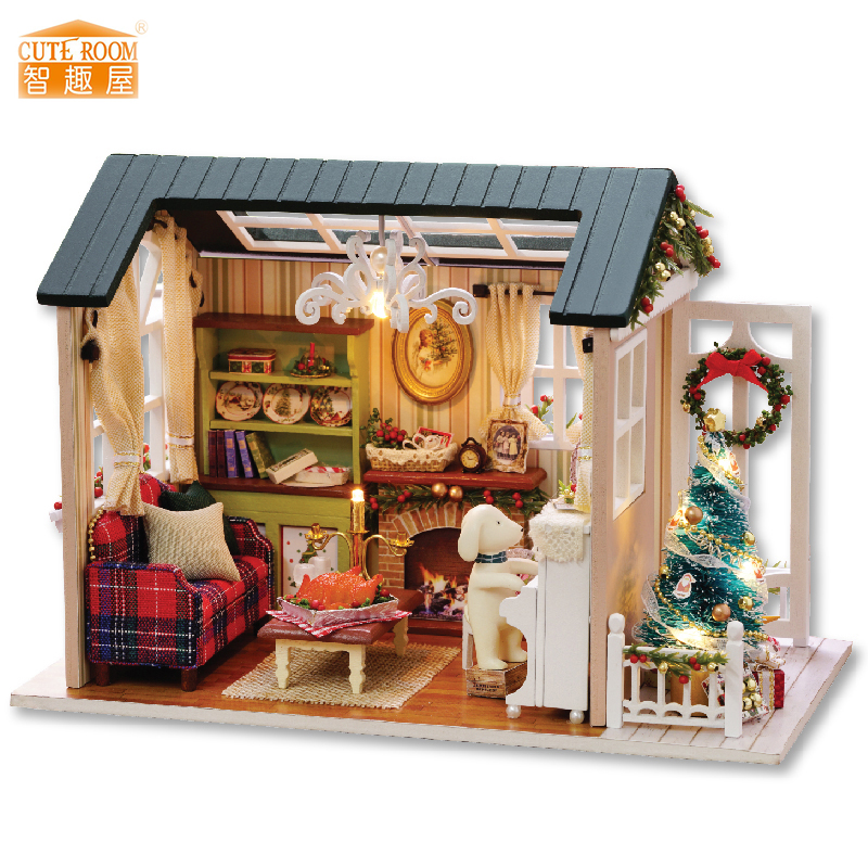 Möbler DIY Doll House Wodden Miniatura Doll House Möbler Kit Box Puzzle Assemble Dollhouse Leksaker För Barn Present Z009