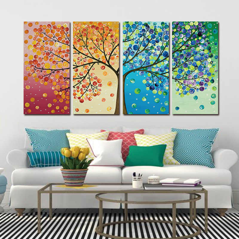 Framed Colourful Leaf Trees 4 Piece HD Print Spray painting rectangle Wall Art Modular pictures for Home Decor Canvas painting