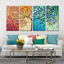 Framed Colourful Leaf Trees 4 Piece HD Print Spray painting rectangle Wall Art Modular pictures for Home Decor Canvas painting canvas painting poster colourful leaf trees 4 piece painting wall art modular pictures for home decor wall art picture painting