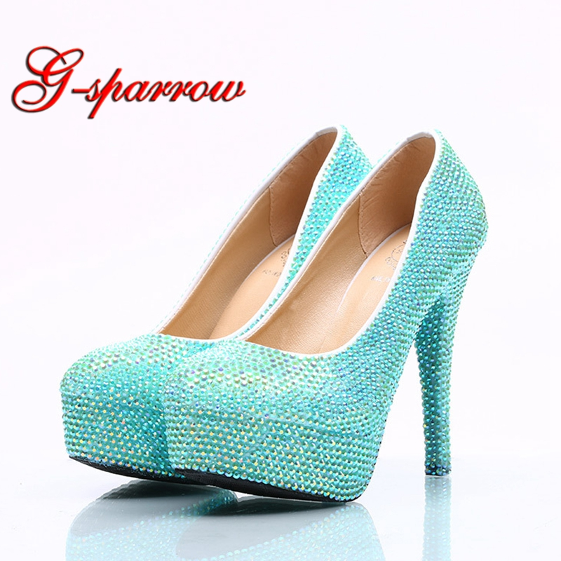 393931c93cc 2018 Sky Blue Color Wedding Dress Shoes Blue AB Color Rhinestone Women  Spring Party Prom Shoes Platform High Heels Bride Shoes