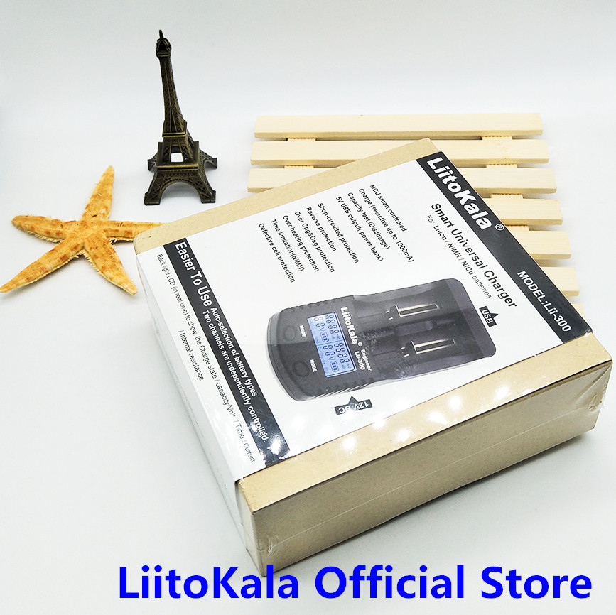 LiitoKala Lii 300 Digital 18650 26650 18350 10440 18500 Charger LCD Display Battery capacity test