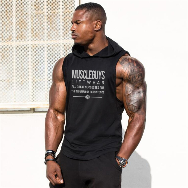 Muscleguys Liftwear Sleeveless Shirt With Hoody Brand Gyms Clothing Fitness Men Bodybuilding Stringer Tank Tops Hoodies Singlets