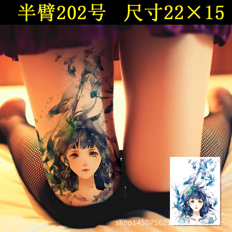 Waterproof Temporary Tattoo Sticker watercolor blue gril 21*14.5 cm Transfer Flash tatto Fake Tattoo for  woman girl