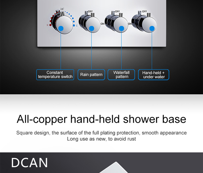LED Ceiling Shower Head Rain Waterfall Shower Massage Jets Wall Mounted Panel Tap Sets Thermostatic Mixer (22)