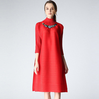 FREE SHIPPINGFashion fold dress high collar pearl big yards seven sleeves dress IN STOCK