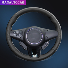 Car Braid On The Steering Wheel Cover for Kia Carens 2013 2014 2015 2016 2017 2018 2019 Auto Leather Wheel Covers Car-styling