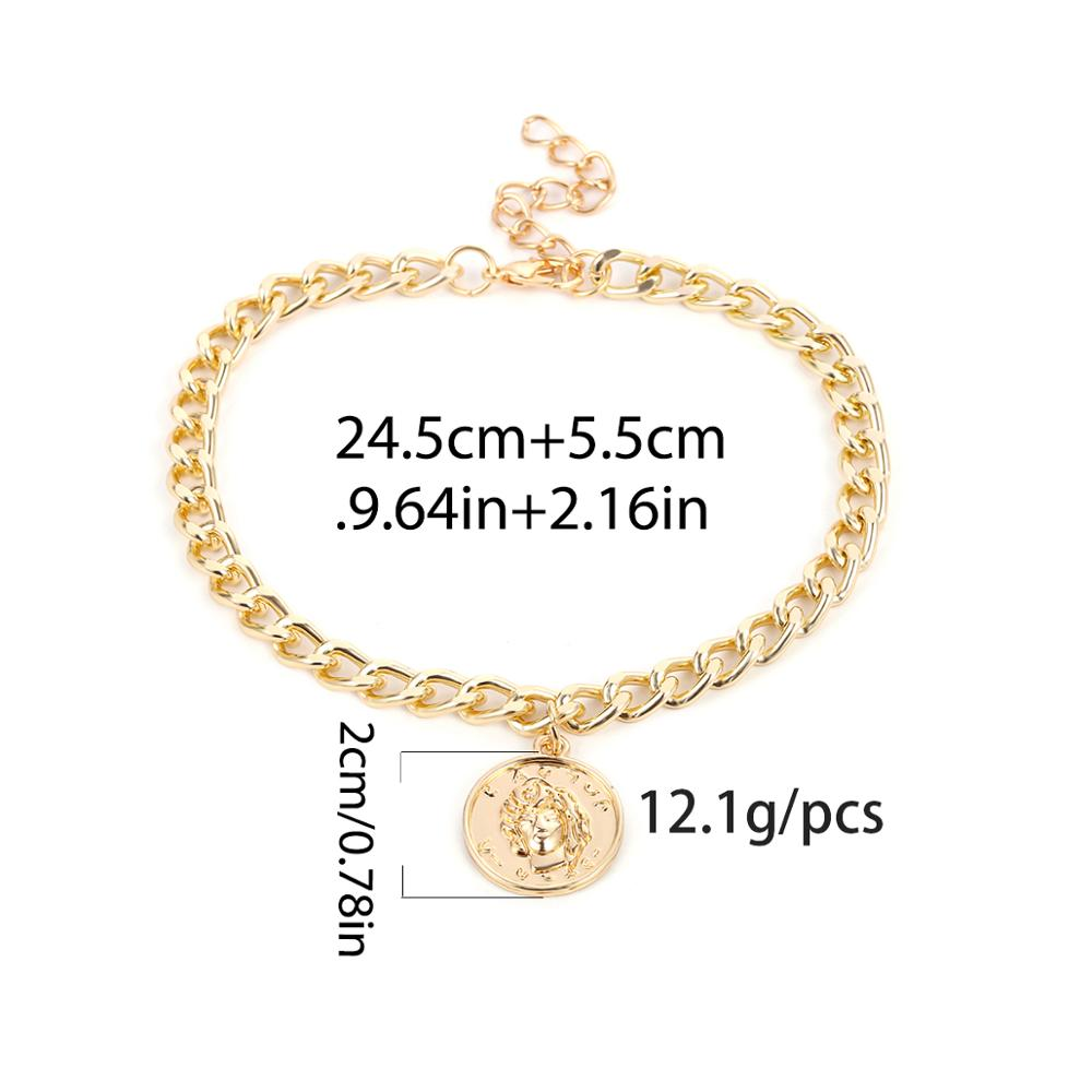 SHIXIN Fashion Charms Alexander Coin Anklet Bracelet for Women Modern Sandals High Heels Boot Shoe Decoration Ankle Chain Female 5