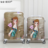 20/24 inch suitcase on wheels Women Cabin travel rolling luggage spinner Cartoon grils student trolley suitcase retro fashion