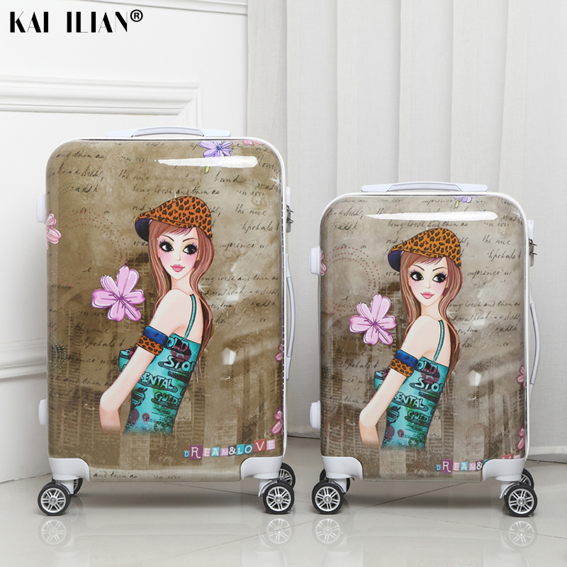 20/24 Inch Suitcase On Wheels Women Cabin Travel Rolling Luggage Spinner Cartoon Girls Student Trolley Suitcase Retro Fashion