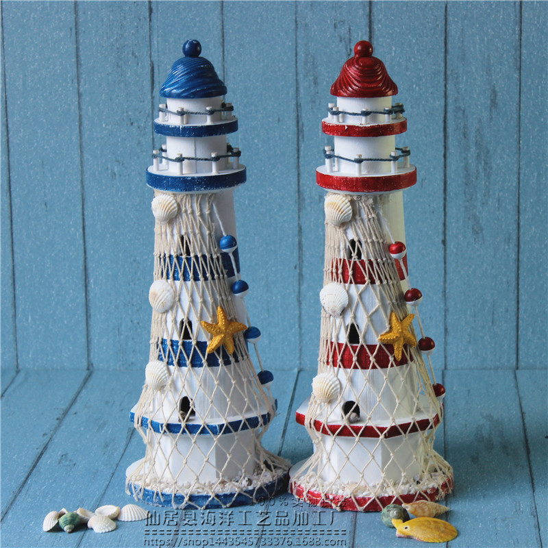 40CM Mediterranean Ancient household Wooden Lighthouse Model Handmade Beacon Nautical Home Decoration Wedding Gift Crafts