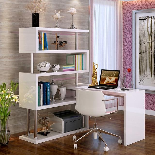 tafel hoek boekenkast combinatie desktop computer bureau met minimalistische home rotatie