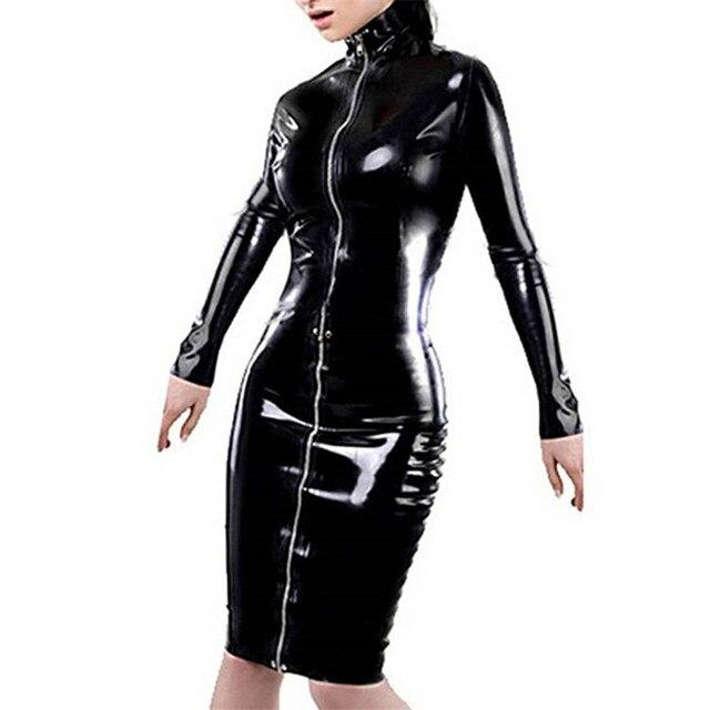 Plus Size XXL Women Erotic Midi Dresses Faux Leather Long Sleeve ...