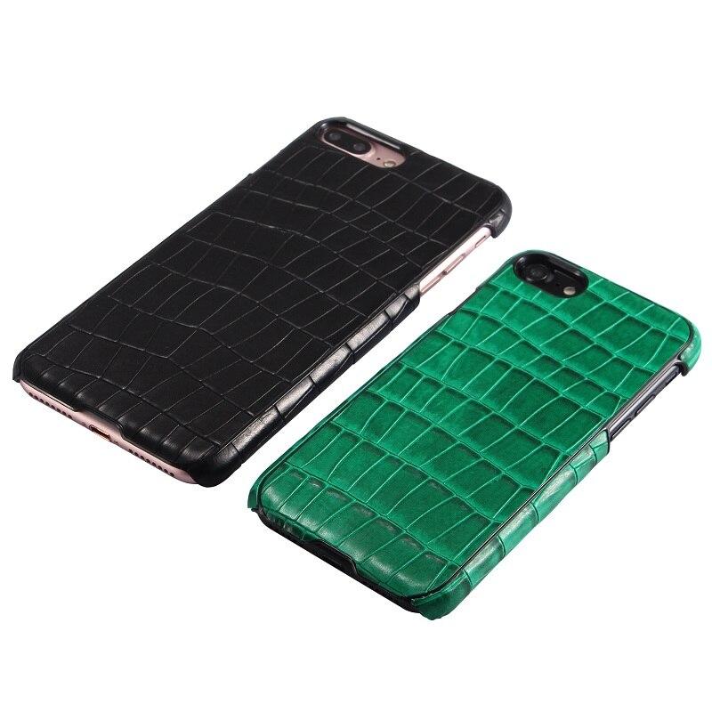 bilder für Solque Natürliche Echt Kuh Ledertasche Für iPhone 7 7 Plus Echtem Leder Fällen Luxus 3D Krokodil Design Harte Schale abdeckung