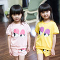 Simple style baby kids clothes set children's clothing summer girl cartoon big eyes child set minipants and O-collar T-shirt