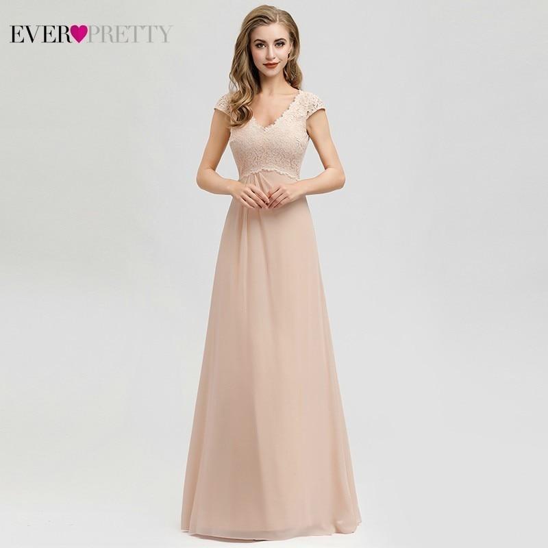 Vestidos De Madrinha Ever Pretty Blush Bridesmaid Dresses A-Line V-Neck Cap Sleeve Elegant Formal Dresses For Wedding Party 2020