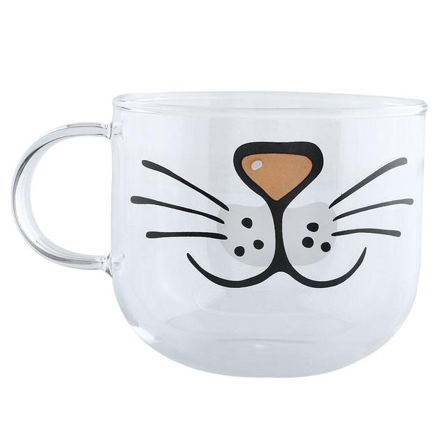 Cat Glass Coffee Mug Home Decoration Transparent Clear Water Mugs 550ML Gift transparent glass cup with cute cat Decoration