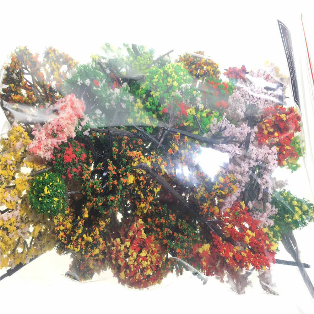 50pcs/lot  architecture mini plastic model 2-15cm color tree for ho train layout  railway layout model building