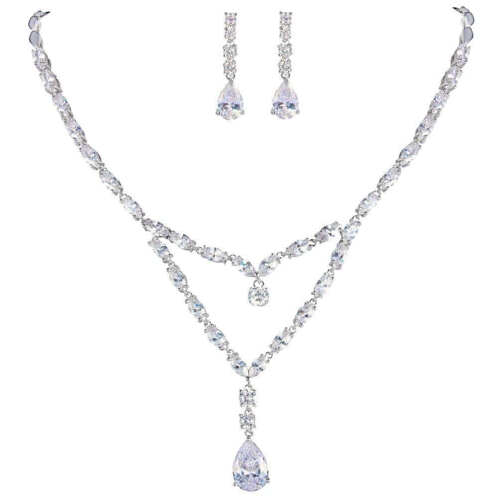 Bella Fashion Teardrop Bridal Necklace Earrings Set Cubic Zircon Bridal  Jewelry Set For Wedding Women Bridesmaid Party Gift