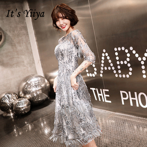 Image 2 - Sequined Cocktail Dresses Shining Three Quater Sleeve Tassel O neck Party Dress Sexy Lace Plus Size Tea Length Formal Gowns E366