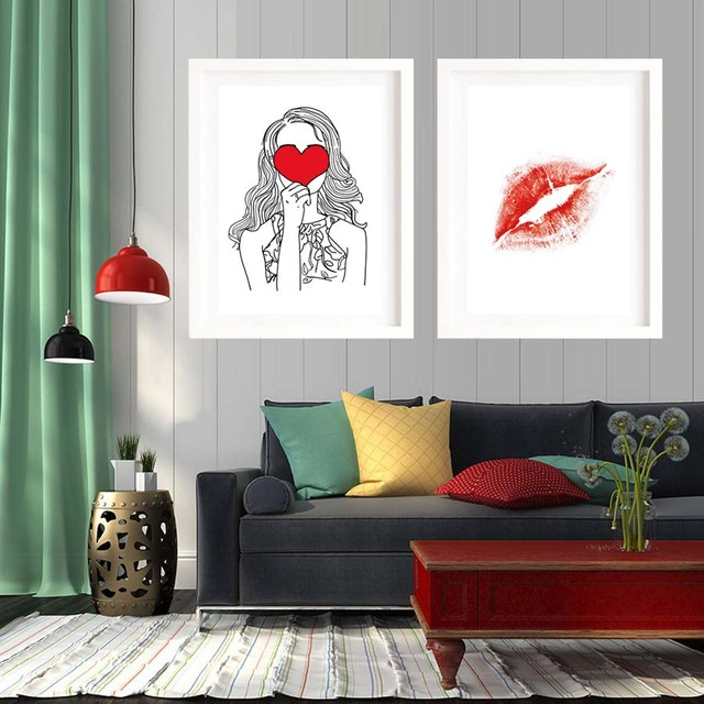 Moderno nórdico Corazón y beso acuarela pintura lienzo pintura ...