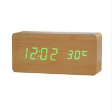 Цифровой светодиодный Будильник Despertador управление звуком USB/AAA дисплей температуры электронный деревянный 4 цвета настольные часы