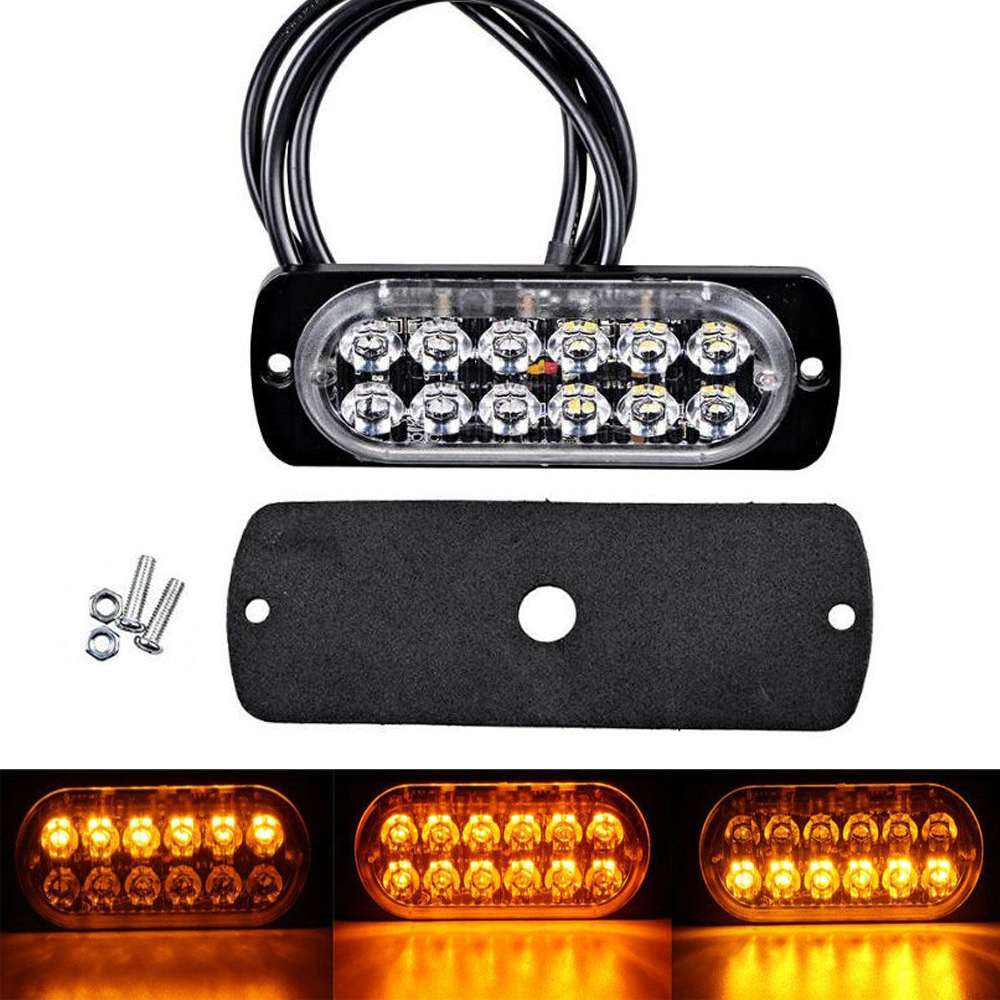 19 Flash Patterns Pair of Amber LED Strobe Lights with 4 Diodes