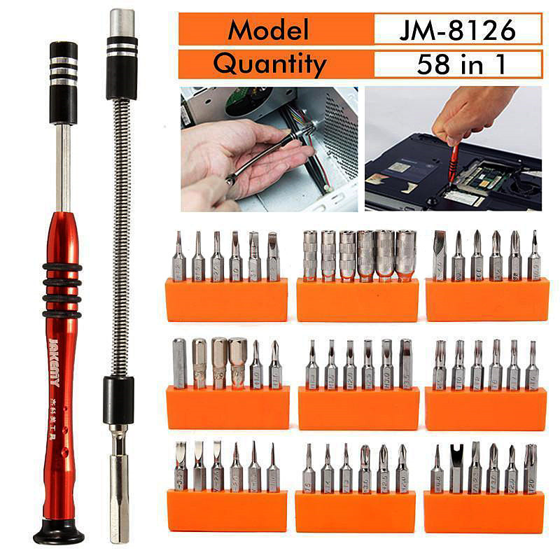 1 Set 58 IN 1 Multi-Bit Screwdriver Kit for PC Tablet Mobile Phone Electronics Repair Fix 54 Bit Driver Kit  VER09 P20