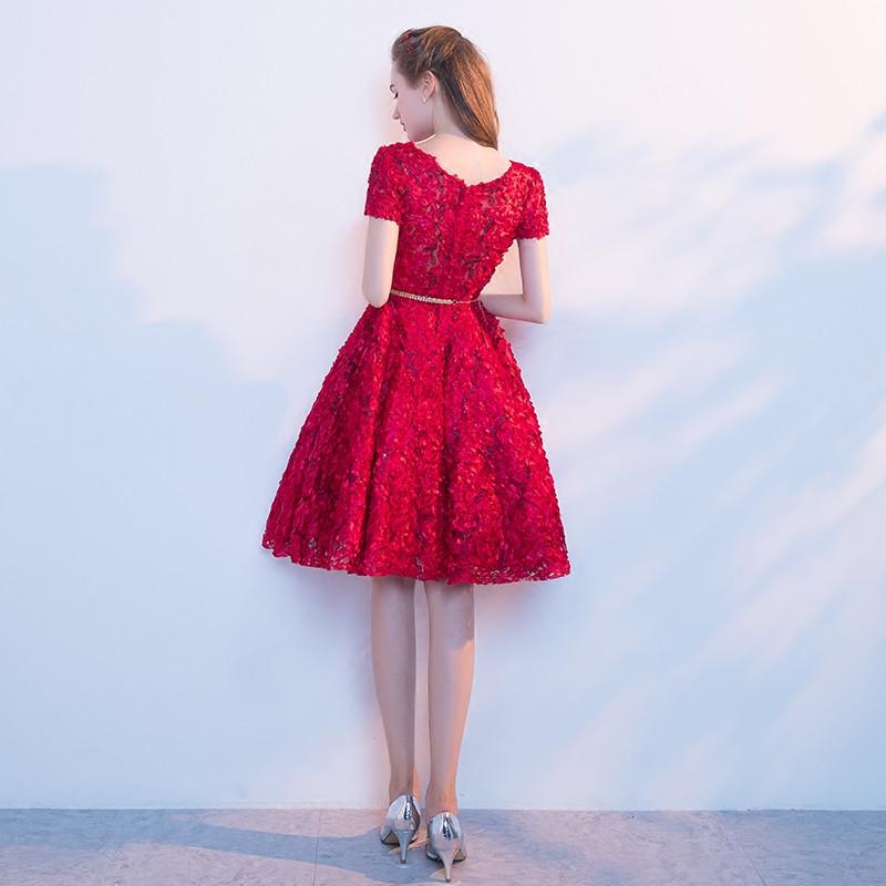 вечернее платье abendkleider лидер продаж короткий рукав короткий вечерние платья 2017 для партии мода совок средства ухода за кожей шеи настоящая фотография платье для выпускного вечера