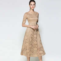 New summer women's Chiffon beige dress ladies rushed big swing short sleeve maxi lace dress sexy club dress long office dresses