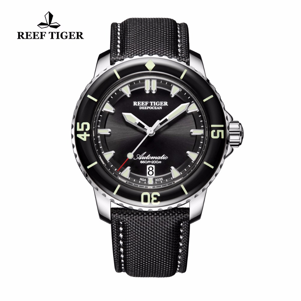Reef Tiger/RT Sport Watches for Men Nylon Strap Automatic Super Luminous Steel Dive Watch with Date RGA3035 reef tiger rt super luminous dive watches for men rose gold blue dial watches analog automatic watches rga3035