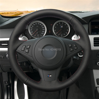 Car Steering Wheel Cover Steering Wrap Black Leather Hand Sewing DIY For BMW E60 E63 E64 Cabrio M6 2005 2010