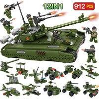 912pcs Military TYPE 99 Main Battle Tank Blocks Compatible Legoingly WW2 City Building Bricks Soldier Figures Toys for Boys