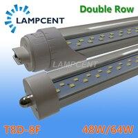 25 100/Pack двухрядный светодио дный трубки, лампы 8ft 2,4 м супер яркий FA8 R17D (HO) поворачивается F96 T8/T10/T12 люминесцентная лампа бар освещения