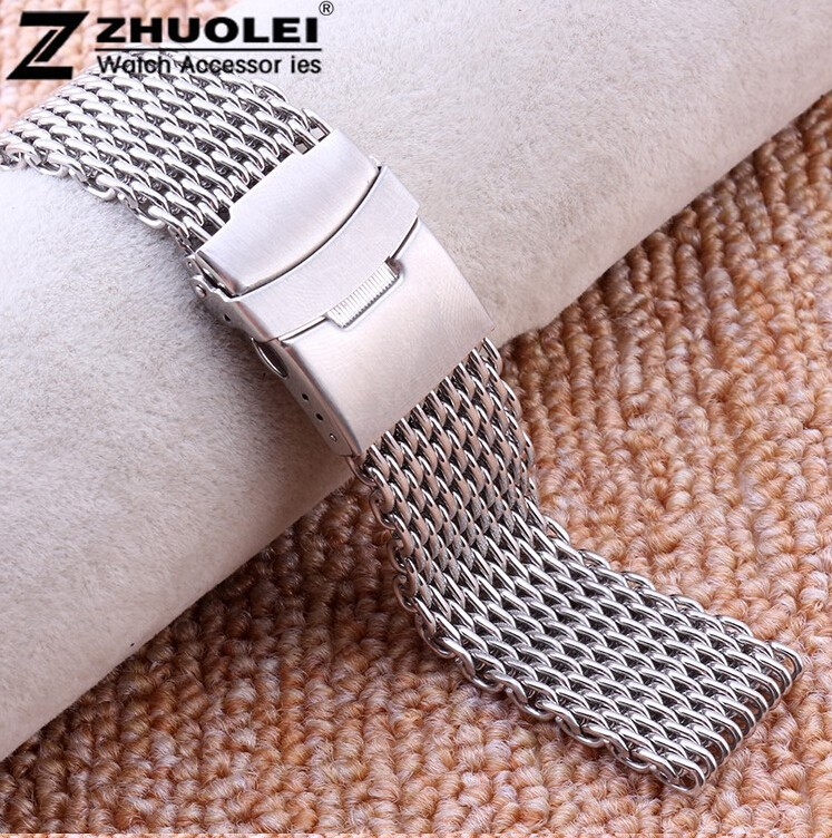 Watch band 18mm 20mm 22mm High Quality Silver Shark Mesh Brushed Stainless Steel Mesh Men's Wrist Watch Band For SKX007K2 wholesale price high quality fashion high quality stainless steel watch band straps bracelet watchband for fitbit charge 2 watch