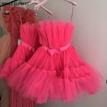 SINGLE ELEMENT Short Sexy Hot Pink Tulle Club Cocktail Dresses