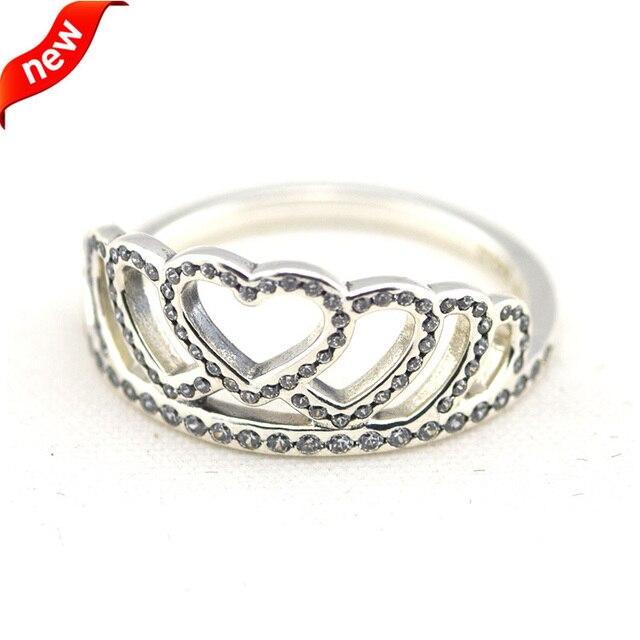 da317c5ec36 CKK 925 Sterling Silver Hearts Tiara Rings For Women Original Jewelry  Making Wedding Anniversary Gift